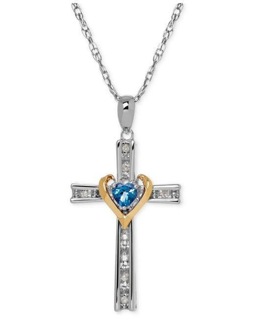 Macy's | Blue Topaz Love Knot Pendant Necklace In Sterling Silver (2-7/8 Ct. T.w.) | Lyst