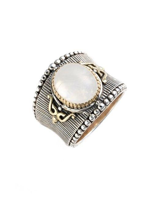 Konstantino | Metallic 'erato' Oval Stone Ring | Lyst