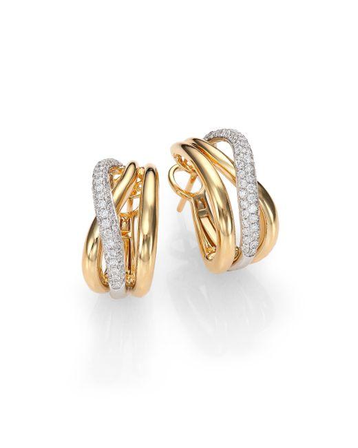 Roberto Coin   Metallic Diamond, 18k White & Yellow Gold Crossover J-hoop Earrings   Lyst