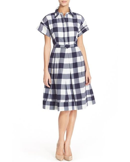 Eliza J Woven Gingham Shirtdress In Blue Navy Ivory Lyst