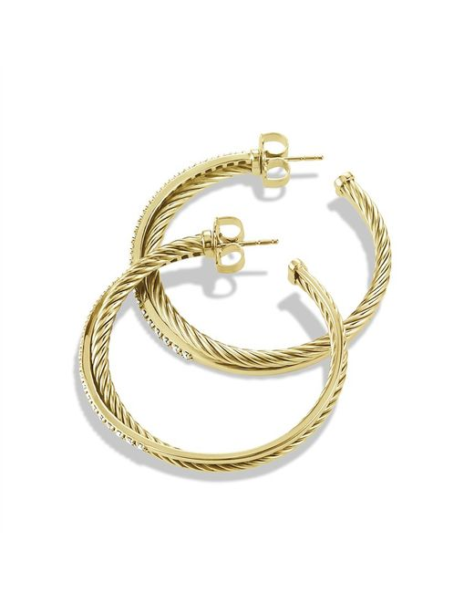 David Yurman | Metallic Crossover Extra-large Hoop Earrings With Diamonds In 18k Gold | Lyst