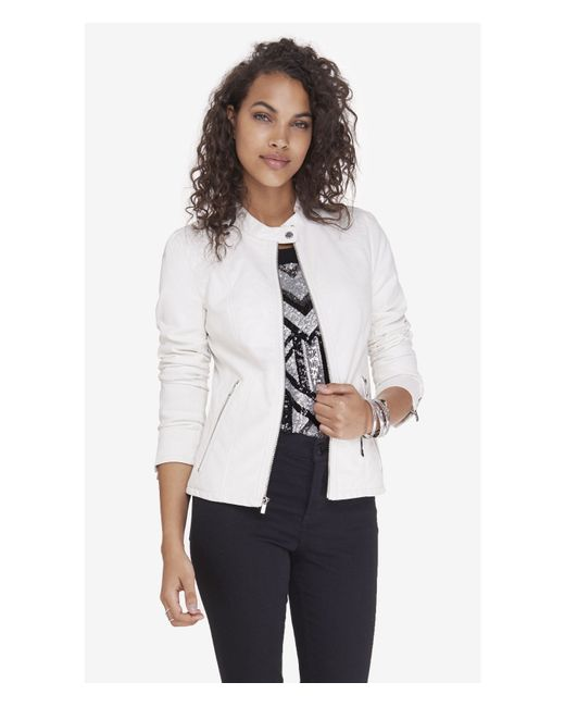 Express | White Double Peplum (minus The) Leather Jacket | Lyst