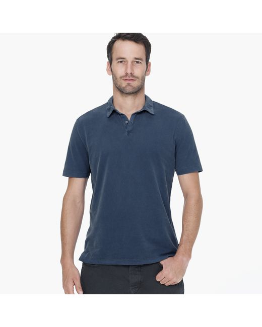 James Perse | Blue Sueded Jersey Polo for Men | Lyst
