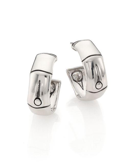 John Hardy | Metallic Bamboo Sterling Silver Medium Hoop Earrings/0.8 | Lyst