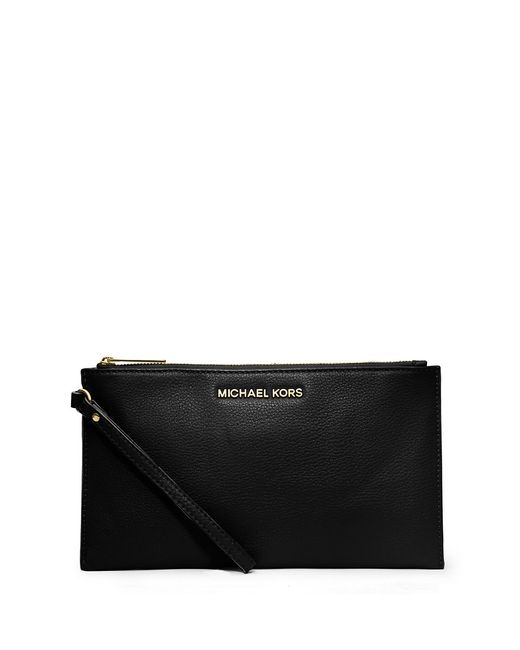 MICHAEL Michael Kors | Black Bedford Large Leather Zip Clutch | Lyst