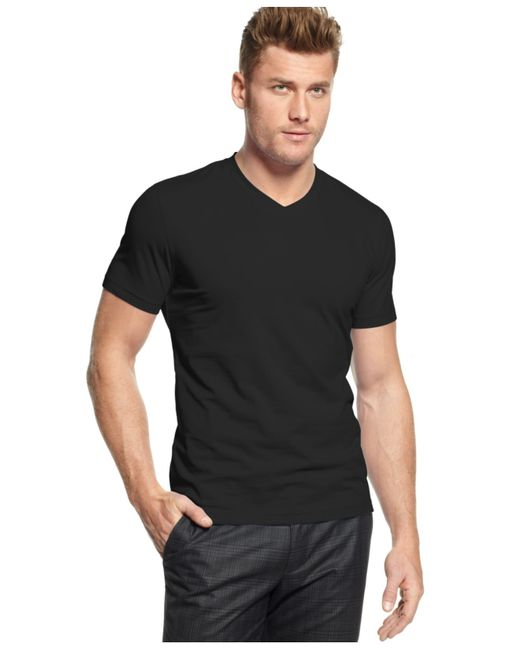 Alfani big and tall stretch v neck t shirt in black for for Tall v neck t shirts