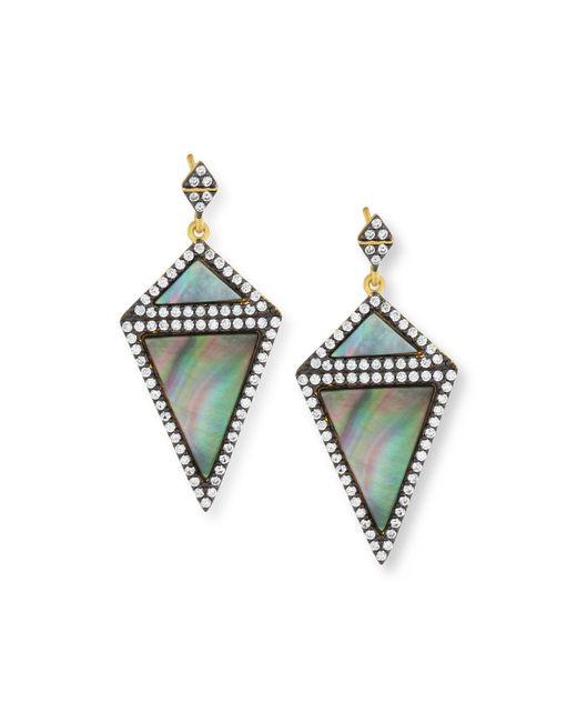 Freida Rothman | Blue Two-tone Cz Triangular Drop Earrings | Lyst