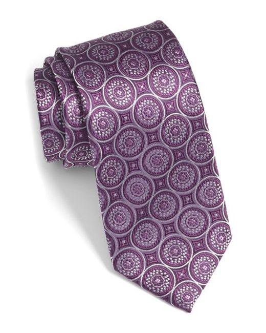 bugatchi medallion silk tie in purple for plum lyst
