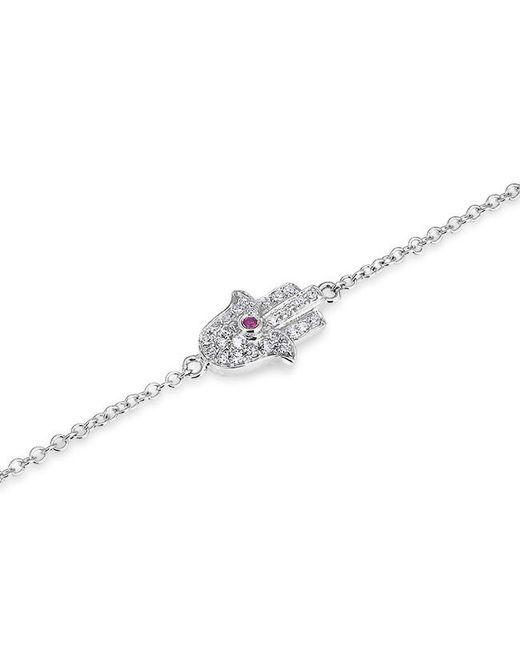 Anne Sisteron | Metallic 14kt White Gold Diamond Blue Sapphire Hamsa Bracelet | Lyst