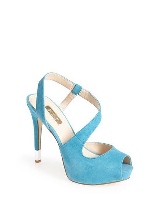 Guess | Blue 'hilarie' Peep Toe Sandal | Lyst