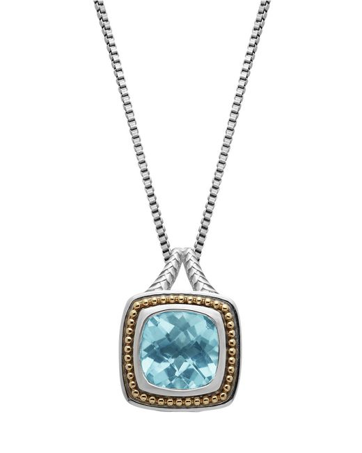Lord & Taylor | Metallic Sterling Silver 14kt. Yellow Gold And Sky Blue Topaz Pendant Necklace | Lyst