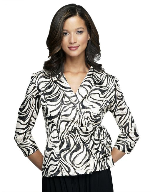 Alex Evenings | Black Swirl Wrap Jacket | Lyst