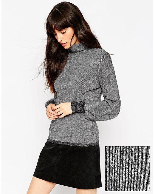 ASOS   Gray Metallic Sweater With Blouson Sleeve   Lyst