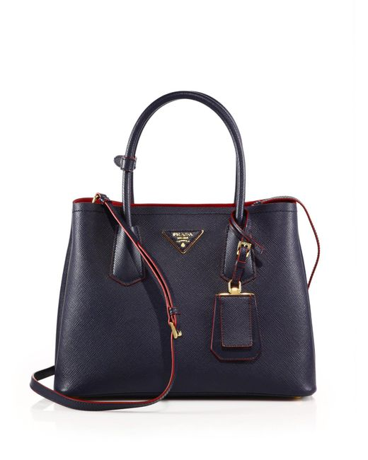 Prada | Blue Saffiano Cuir Small Double Bag | Lyst