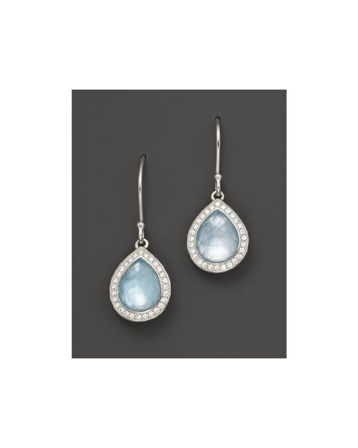 Ippolita | Multicolor Sterling Silver Stella Small Teardrop Earrings In Blue Topaz Mother-of-pearl With Diamonds | Lyst