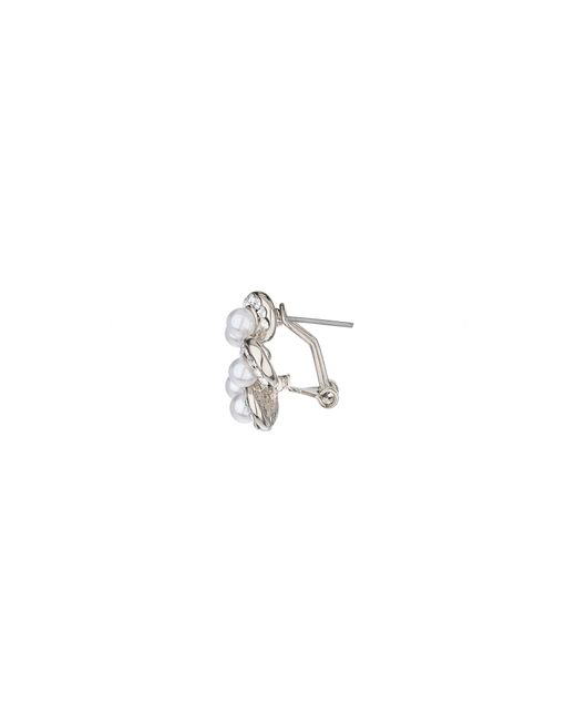 Mikey | Metallic Spiral Crystal Pearl End Stud Earring | Lyst