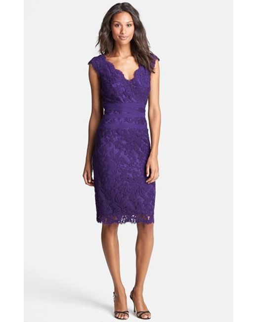 Tadashi Shoji | Blue Embroidered Lace Sheath Dress | Lyst