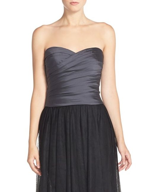 Monique Lhuillier Bridesmaids | Gray Taffeta Pleat Sweetheart Neck Bustier | Lyst