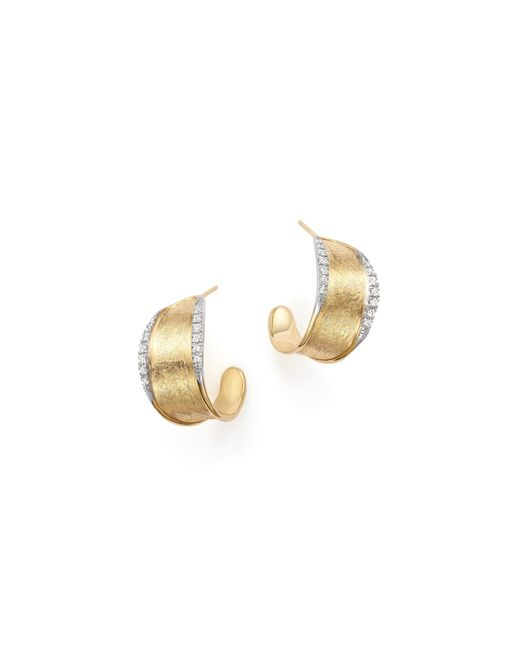 Marco Bicego | Metallic 18k Yellow Gold Diamond Lunaria Hoop Earrings | Lyst