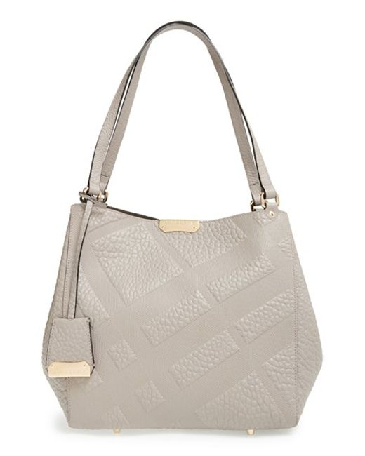 Burberry | Gray Small Canter Grain Check Leather Shoulder | Lyst