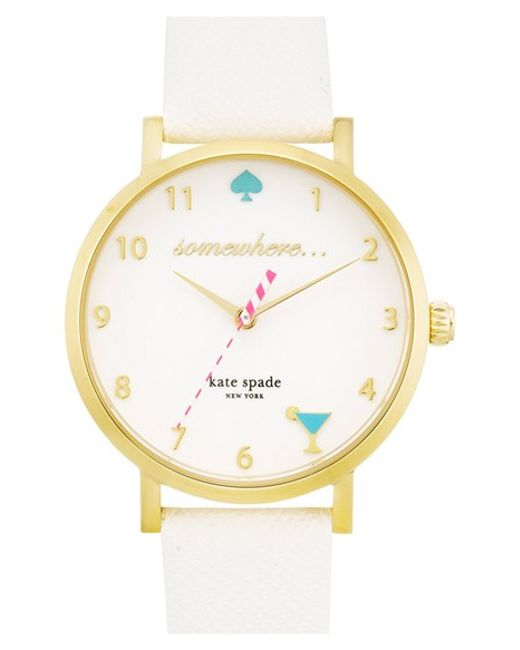 Kate Spade | Metallic 'metro - Somewhere' Leather Strap Watch | Lyst