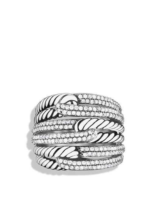 David Yurman   Metallic Labyrinth Triple-loop Ring With Diamonds   Lyst