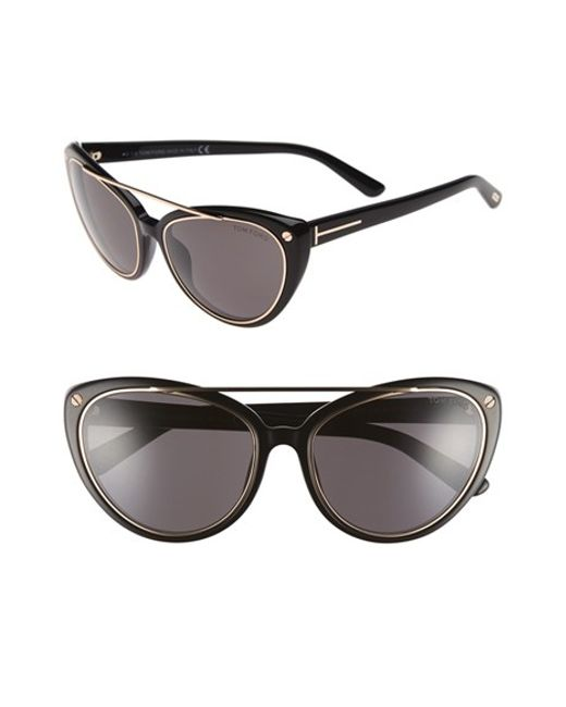 tom ford 39 edita 39 58mm cat eye sunglasses in black black smoke. Cars Review. Best American Auto & Cars Review