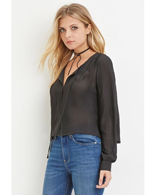 Forever 21 | Gray Contemporary Self-tie Chiffon Blouse | Lyst