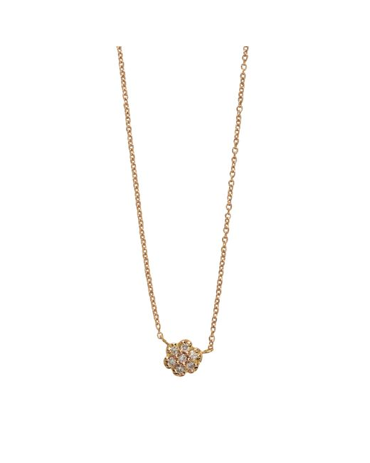 Ginette NY | Metallic Lotus Mini Diamond Gold And Diamond Neckalce | Lyst