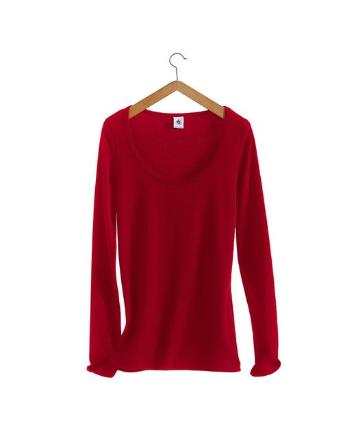 Petit Bateau   Red Women's Long-sleeved, Scoop Neck Tee In Iconic Cotton   Lyst