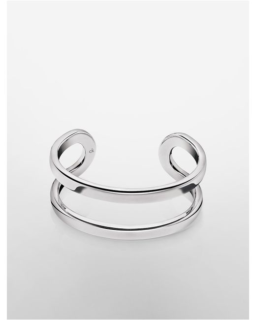 Calvin Klein | Metallic Platinum Return Open Cuff | Lyst