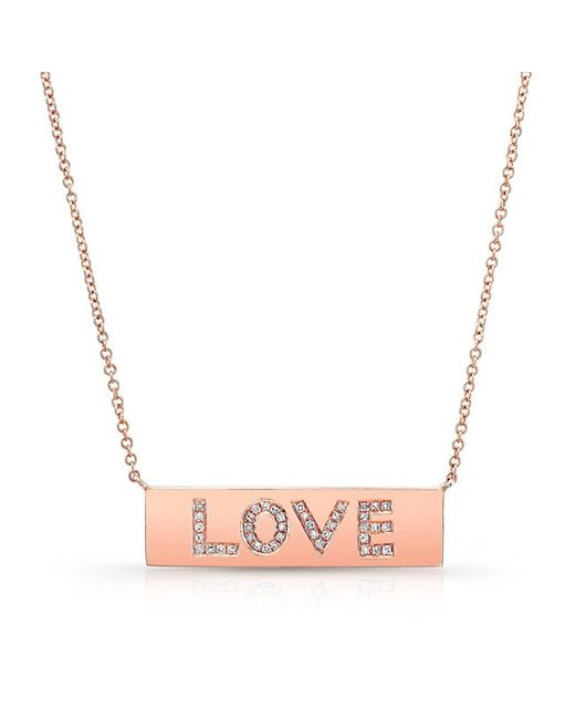 Anne Sisteron - Pink 14kt Rose Gold Diamond Love Plaque Necklace - Lyst