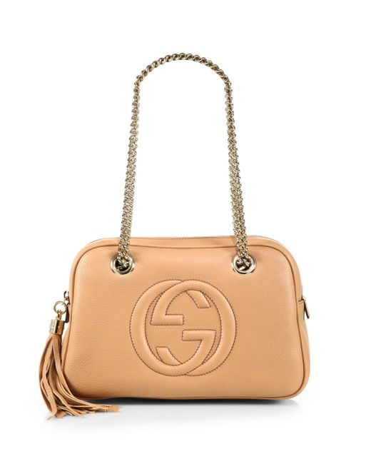 8aa391c9958e Gucci Soho Leather Chain Shoulder Bag in Pink (PETAL PINK) | Lyst