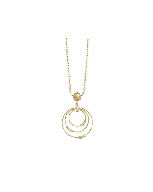 Lagos | Metallic 18k Gold And Diamond Circle Pendant Necklace, 16"