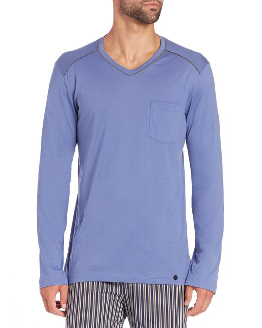Hanro | Blue Long-sleeved Cotton T-shirt for Men | Lyst