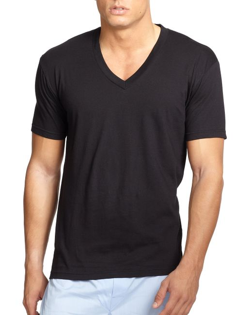 Saks Fifth Avenue | Black V-neck Tee, 3-pack for Men | Lyst