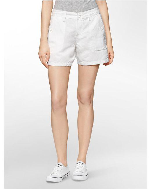 Calvin Klein | Natural Jeans Lightweight Linen Shorts | Lyst