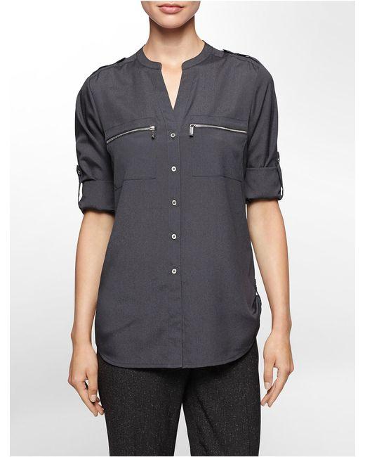 Calvin Klein | Gray Mandarin Collar Roll-up Sleeve Blouse | Lyst