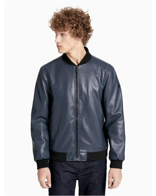 Calvin Klein | Gray Smooth Faux Leather Bomber Jacket for Men | Lyst