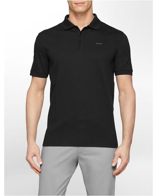 Calvin Klein | Black Classic Fit Solid Liquid Cotton Polo Shirt for Men | Lyst