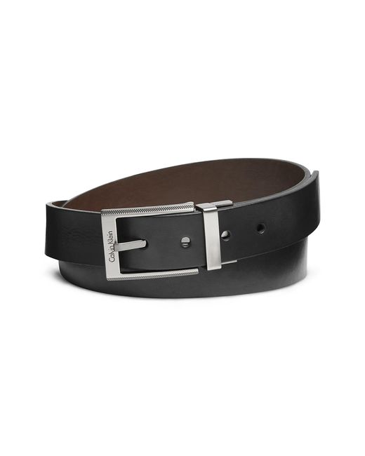 CALVIN KLEIN 205W39NYC - Black Textured Square Buckle Leather Dress Belt for Men - Lyst
