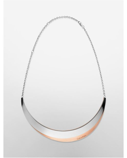 Calvin Klein   Metallic Platinum Breathe Two-tone Necklace   Lyst