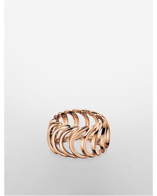 Calvin Klein | Pink Platinum Body Rose Gold Ring | Lyst