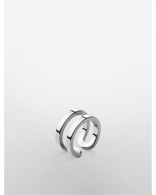 Calvin Klein | Metallic Platinum Return Ring for Men | Lyst