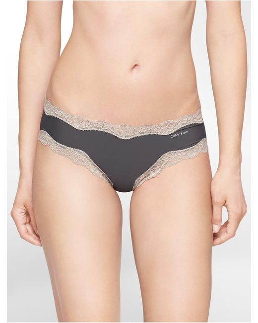 Calvin Klein   Gray Underwear Cheeky Hipster With Lace   Lyst