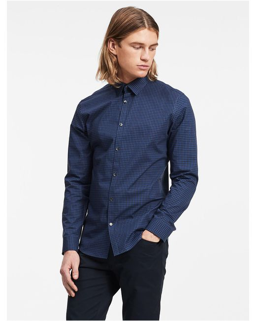 CALVIN KLEIN 205W39NYC - Blue Slim Fit Block Check Non-iron Shirt for Men - Lyst
