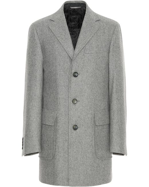 Canali - Light Gray Wool Overcoat for Men - Lyst