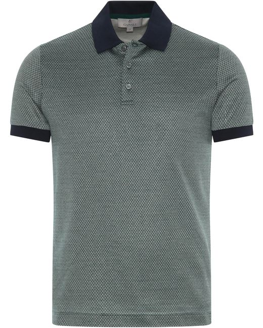 Canali - Green Cotton Jersey Polo Shirt With Micro-motif for Men - Lyst