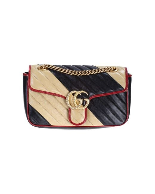 d7aa35cd81e Gucci Gg Marmont Shoulder Bag In Matelassé Leather With Maxi Beige And  Black Stripes ...