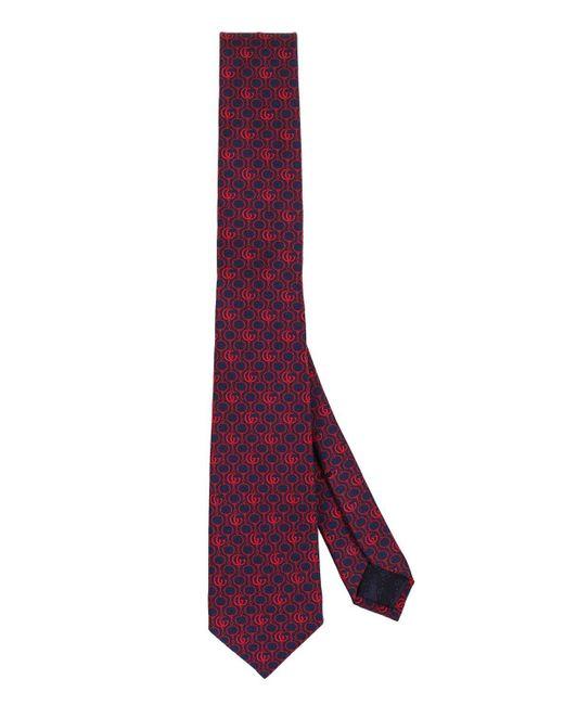Gucci Purple Silk Tie With Gg And Morsetti for men
